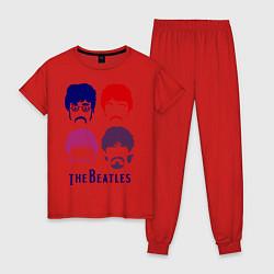 Пижама хлопковая женская The Beatles faces цвета красный — фото 1