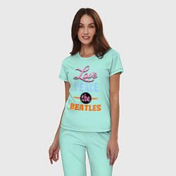 Пижама хлопковая женская Love peace the Beatles цвета мятный — фото 2