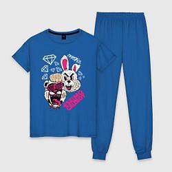 Пижама хлопковая женская Eskimo Callboy цвета синий — фото 1