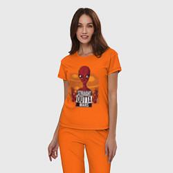 Пижама хлопковая женская Straight Outta Mars цвета оранжевый — фото 2