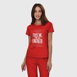 Пижама хлопковая женская I'm an Engineer цвета красный — фото 2