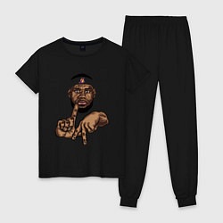 Пижама хлопковая женская LeBron Style цвета черный — фото 1