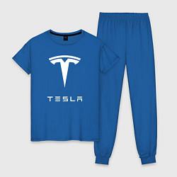 Пижама хлопковая женская TESLA Mobile цвета синий — фото 1