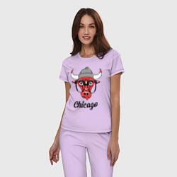 Пижама хлопковая женская Chicago SWAG цвета лаванда — фото 2