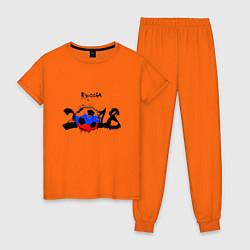 Пижама хлопковая женская Russia цвета оранжевый — фото 1