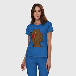 Пижама хлопковая женская Медведь цензурный цвета синий — фото 2