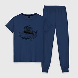 Пижама хлопковая женская Whale forest цвета тёмно-синий — фото 1