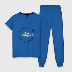 Пижама хлопковая женская Мурманск цвета синий — фото 1