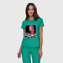 Пижама хлопковая женская 6ix9ine цвета зеленый — фото 2