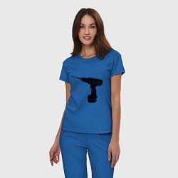 Пижама хлопковая женская Она: перфоратор цвета синий — фото 2