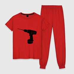 Пижама хлопковая женская Она: перфоратор цвета красный — фото 1