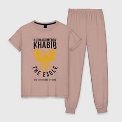 Пижама хлопковая женская Khabib: The Eagle цвета пыльно-розовый — фото 1