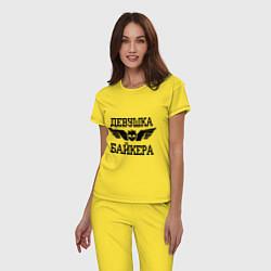 Пижама хлопковая женская Девушка байкера цвета желтый — фото 2