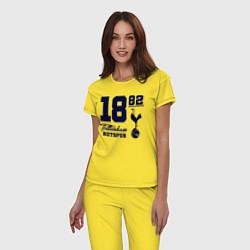 Пижама хлопковая женская FC Tottenham 1882 цвета желтый — фото 2