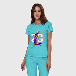 Пижама хлопковая женская Леброн Джеймс цвета бирюзовый — фото 2
