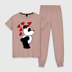 Пижама хлопковая женская Поцелуй панды: для нее цвета пыльно-розовый — фото 1