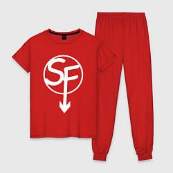 Пижама хлопковая женская SANITYS FALL цвета красный — фото 1