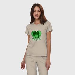 Пижама хлопковая женская Hulk: Incredible Heart цвета миндальный — фото 2