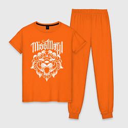 Пижама хлопковая женская Miss May I: Angry Lion цвета оранжевый — фото 1