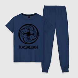 Пижама хлопковая женская Kasabian: Symbol цвета тёмно-синий — фото 1