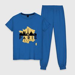 Пижама хлопковая женская Париж - Франция цвета синий — фото 1
