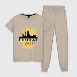 Пижама хлопковая женская Cologne цвета миндальный — фото 1