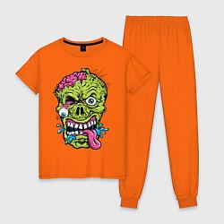 Пижама хлопковая женская Scary mask цвета оранжевый — фото 1