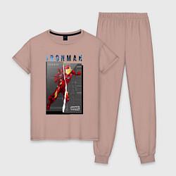 Пижама хлопковая женская Iron Man: Glitch Effect цвета пыльно-розовый — фото 1