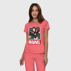 Пижама хлопковая женская Iron Man: Mark III цвета коралловый — фото 2