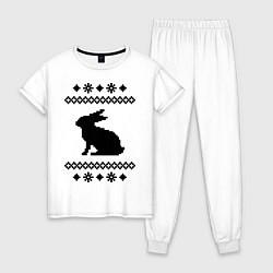 Пижама хлопковая женская Узор с зайцем цвета белый — фото 1