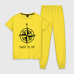 Пижама хлопковая женская TOP: East is Up цвета желтый — фото 1