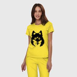 Пижама хлопковая женская Одинокий волк цвета желтый — фото 2