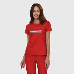 Пижама хлопковая женская Rammstein Shadows цвета красный — фото 2