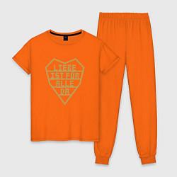 Пижама хлопковая женская Rammstein: Liebe ist fur alle da цвета оранжевый — фото 1