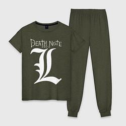 Пижама хлопковая женская DEATH NOTE цвета меланж-хаки — фото 1