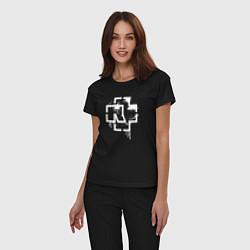 Пижама хлопковая женская Rammstein: White Logo цвета черный — фото 2