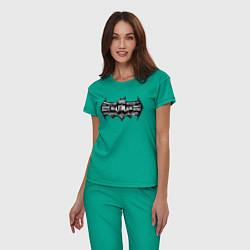 Пижама хлопковая женская Batman цвета зеленый — фото 2