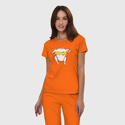 Пижама хлопковая женская I Love You цвета оранжевый — фото 2