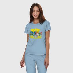 Пижама хлопковая женская Super Friends, Justice League цвета мягкое небо — фото 2
