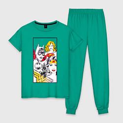 Пижама хлопковая женская Justice League superheroines цвета зеленый — фото 1