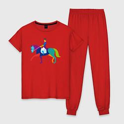 Пижама хлопковая женская Всадник на коне цвета красный — фото 1