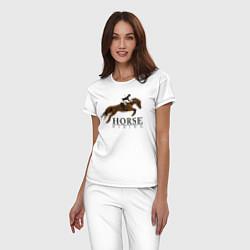 Пижама хлопковая женская HORSE RIDING цвета белый — фото 2