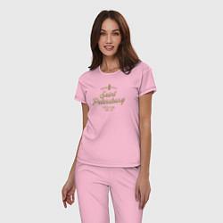 Пижама хлопковая женская Санкт-Петербург Gold Classic цвета светло-розовый — фото 2