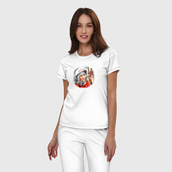 Пижама хлопковая женская Гагарин ?? 1 цвета белый — фото 2