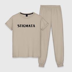 Пижама хлопковая женская Stigmata цвета миндальный — фото 1