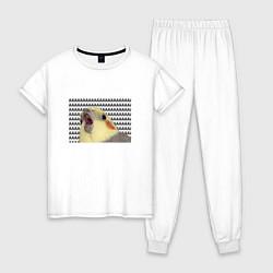 Пижама хлопковая женская Орущий попугай цвета белый — фото 1