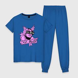 Пижама хлопковая женская LIL PEEP цвета синий — фото 1