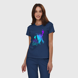 Пижама хлопковая женская Виктор Цой цвета тёмно-синий — фото 2