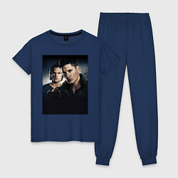 Пижама хлопковая женская Winchester Brothers цвета тёмно-синий — фото 1