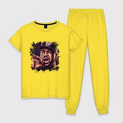 Пижама хлопковая женская Ice Cube цвета желтый — фото 1